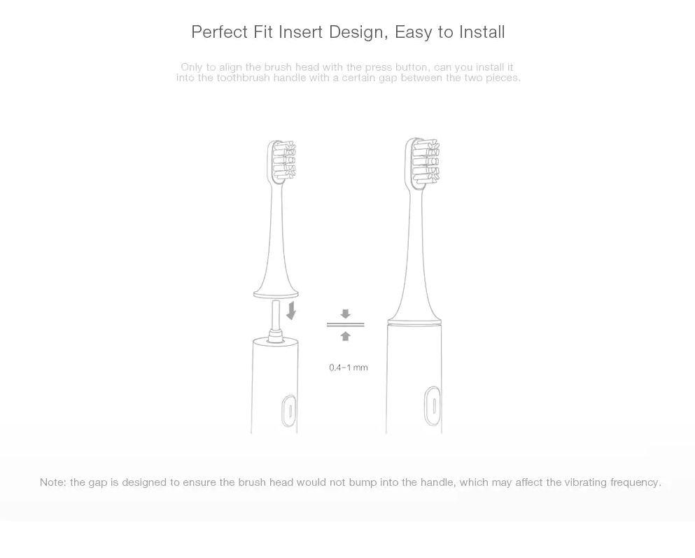 Набор насадок Xiaomi Toothbrush Universal Standard Cleaning Brush Head Pink 2 pcs