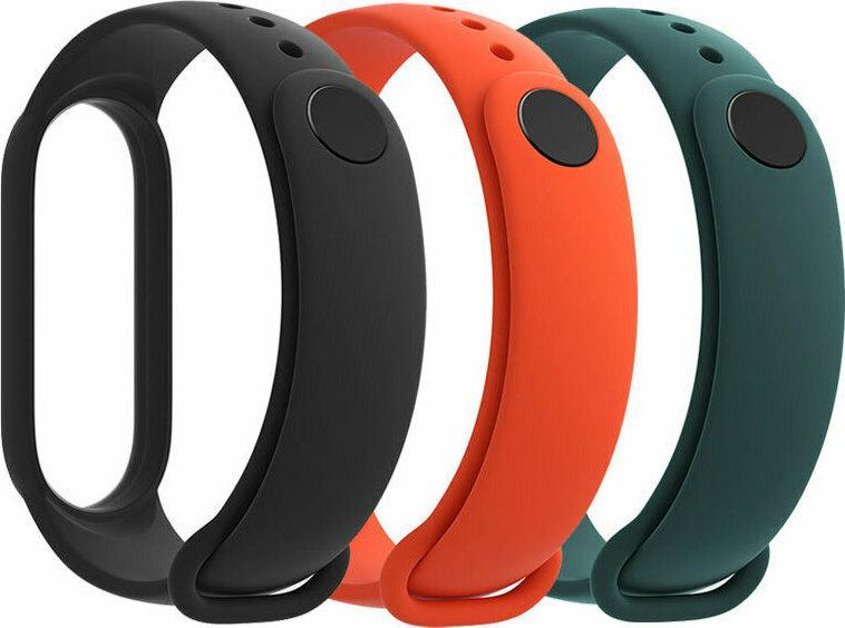 Набор браслетов для Xiaomi Mi Band 5/6 (3-Pack) Black/Orange/Dark Green